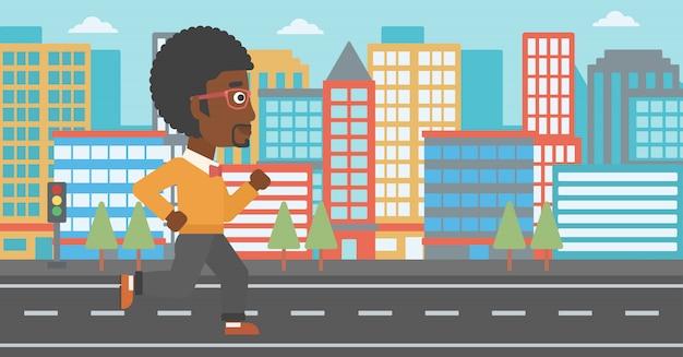 陽気な男がジョギングします。
