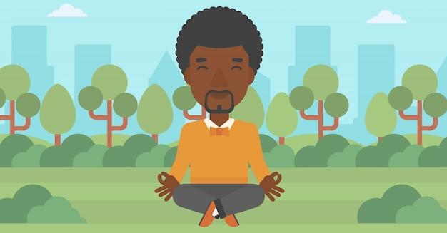 ロータスポーズで瞑想の実業家。