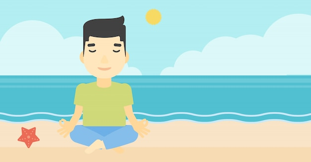 蓮に瞑想の男は、ベクトルイラストをもたらします。