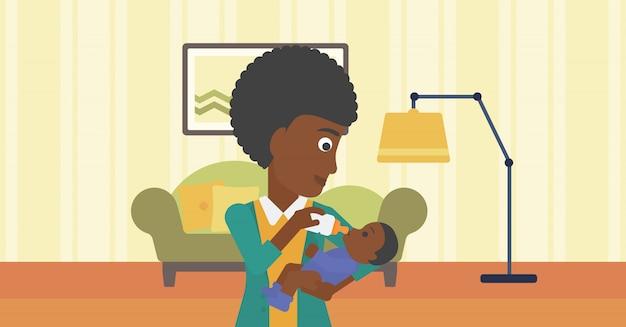 授乳中の母親。