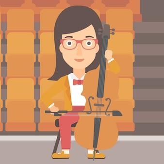 女性演奏チェロ。