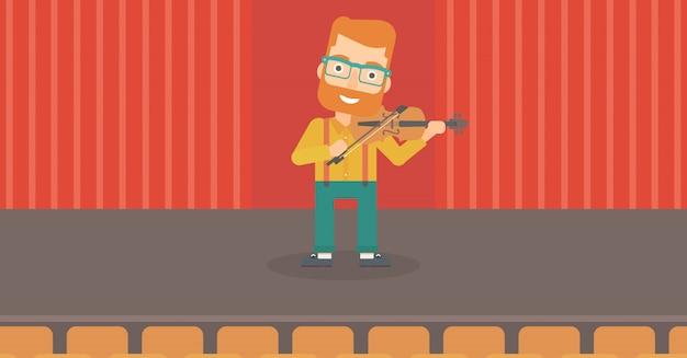 バイオリンを弾く男。