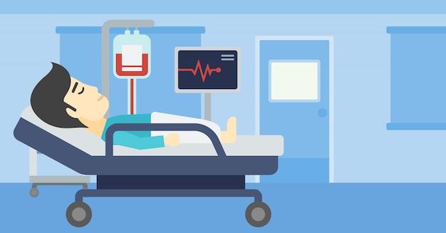 病院のベッドのベクトル図で横になっている男。