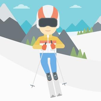 Молодой человек на лыжах векторные иллюстрации.