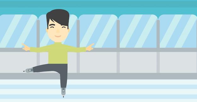 男性フィギュアスケーターのベクトル図です。