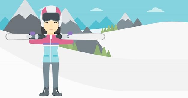 Женщина, держащая лыжи векторные иллюстрации.