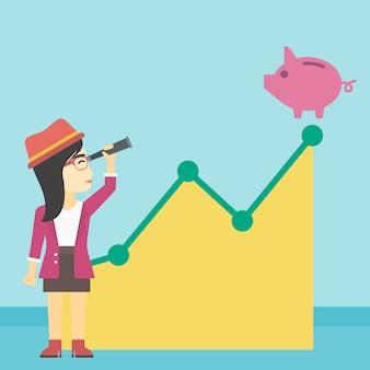 ビジネスの女性が貯金を見ています。