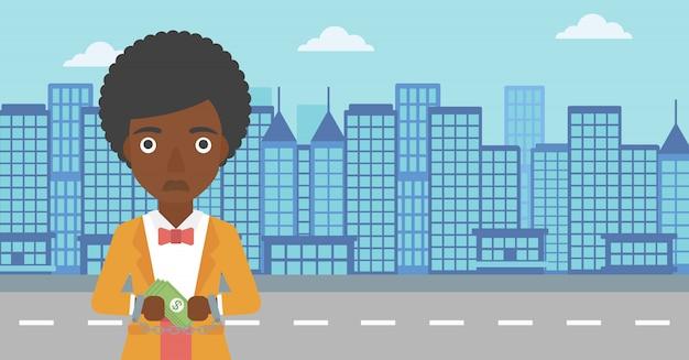 ビジネスの女性が犯罪のために手錠をかけられ。