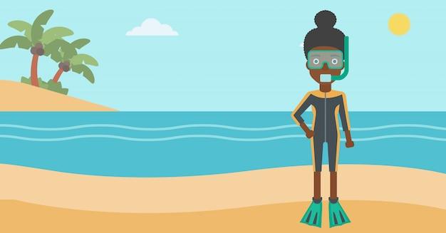 Женский аквалангист на пляже