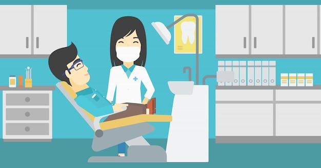 患者さんと歯科医のオフィスで医者。
