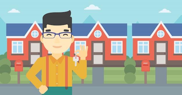Агент по недвижимости с ключом