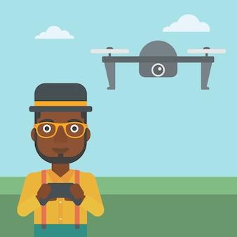 Человек летающий дрон