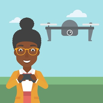 Женщина летающий дрон