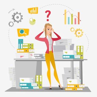 ビジネスの女性は、事務処理をオーバーロードしました。