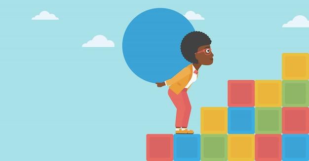 Женщина, перевозящих бетонный мяч в гору.