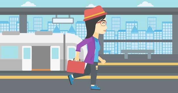 鉄道駅の女性のベクトル図です。