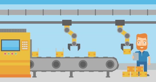 生産ラインで作業するロボットアーム
