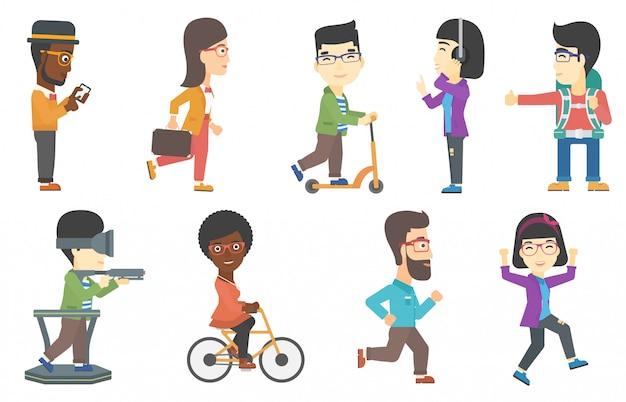 Векторный набор туристов и деловых персонажей.