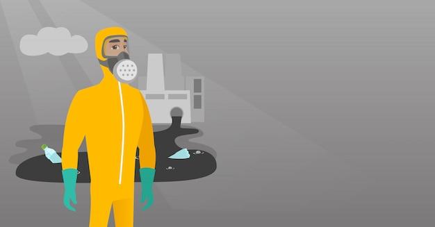 科学者が放射線防護服を着ています。