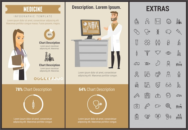 医学インフォグラフィックテンプレート、要素およびアイコン