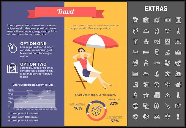 Шаблон инфографики путешествия, элементы и значки