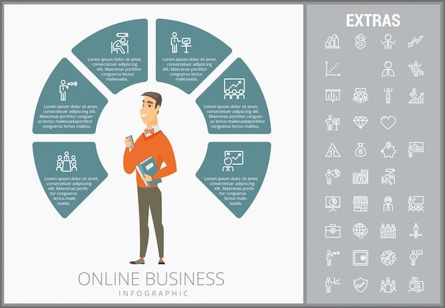オンラインビジネスインフォグラフィックテンプレートとアイコンセット