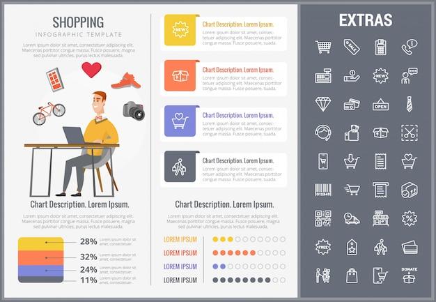 ショッピングインフォグラフィックテンプレート、要素およびアイコン
