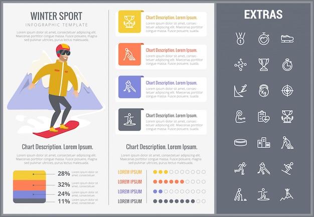 Зимний спорт инфографики шаблон, элементы, значки