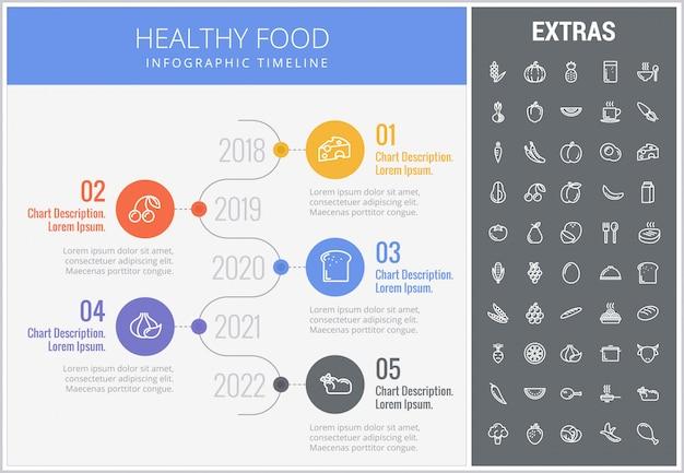 Здоровая пища инфографики шаблон, элементы, значки