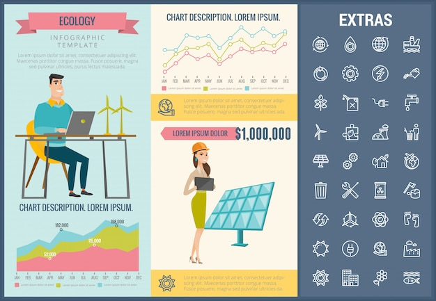 エコロジーインフォグラフィックテンプレート、要素およびアイコン