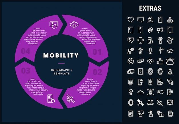 Мобильный инфографический шаблон, элементы и значки
