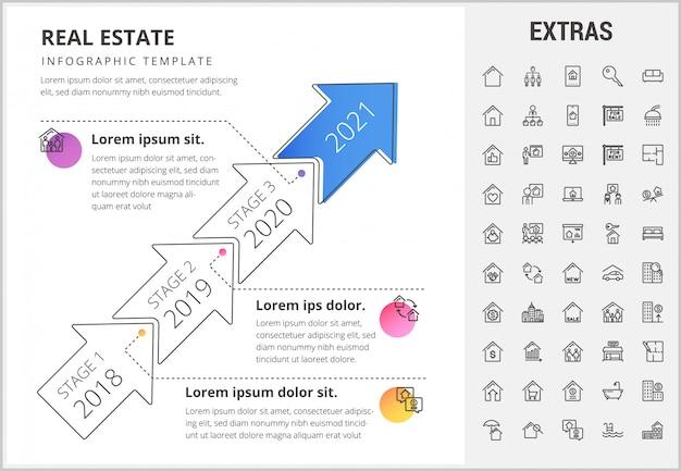 不動産インフォグラフィックテンプレート、要素、アイコン