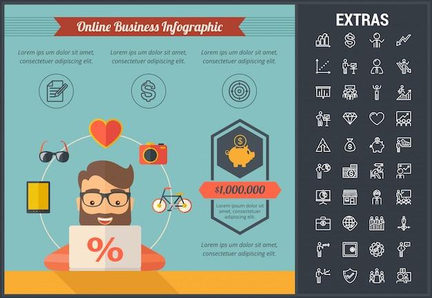 オンラインビジネスのインフォグラフィックテンプレートと要素