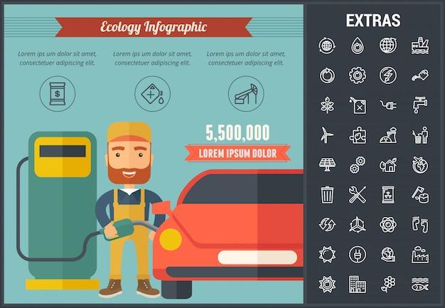 Экология инфографики шаблон, элементы и значки