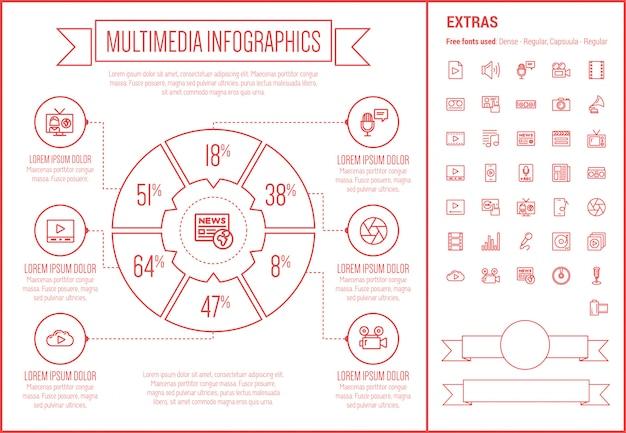 マルチメディアラインデザインインフォグラフィックテンプレート