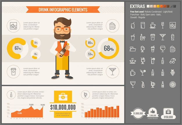 Пить плоский дизайн шаблона инфографики