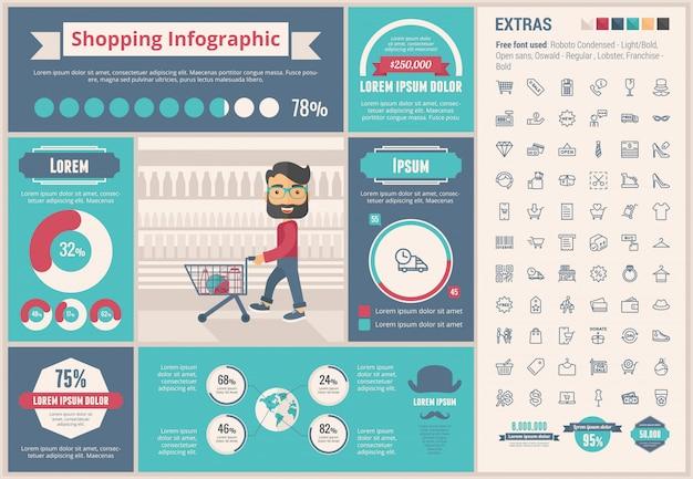 ショッピングフラットデザインインフォグラフィックテンプレート