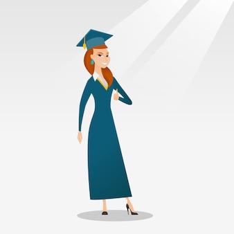 Выпускник дает большой палец вверх векторные иллюстрации.