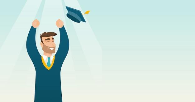 卒業生は卒業の帽子を投げます。