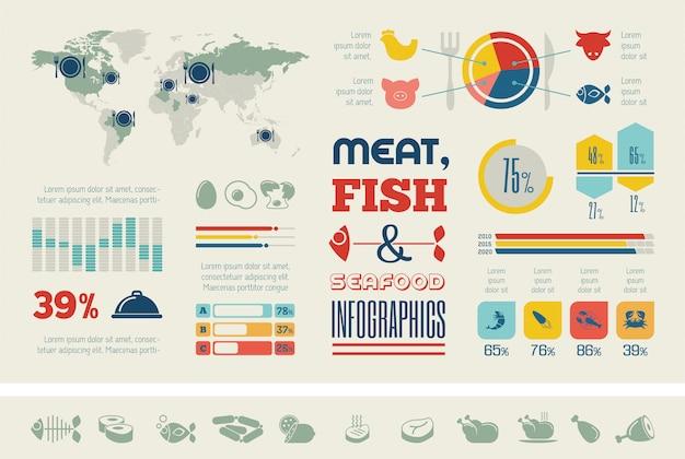 Шаблон еды инфографики.