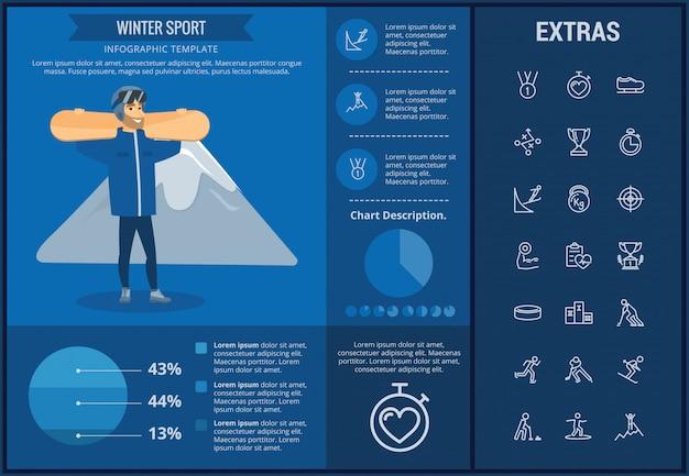 ウィンタースポーツインフォグラフィックテンプレート、要素、アイコン