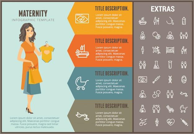 Шаблон для беременных инфографики, элементы и значки