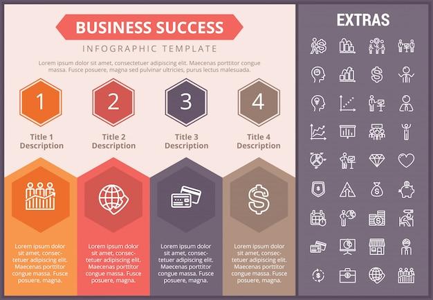 ビジネス成功インフォグラフィックテンプレートと要素