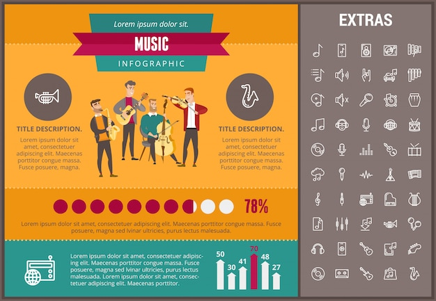 音楽インフォグラフィックテンプレート、要素およびアイコン