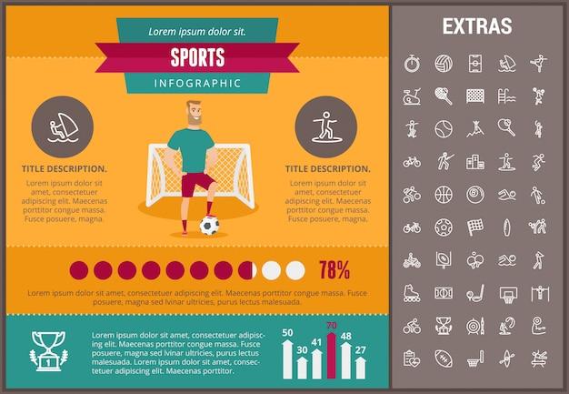 Спортивный инфографики шаблон, элементы и значки