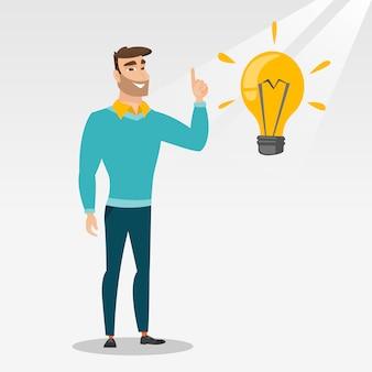 学生のアイデア電球ベクトル図を指す