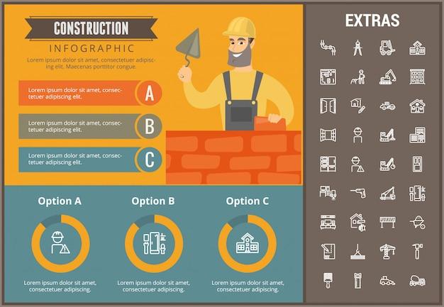 Строительный инфографический шаблон и элементы