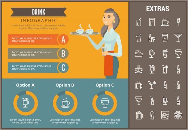 インフォグラフィックテンプレート、要素およびアイコンを飲む