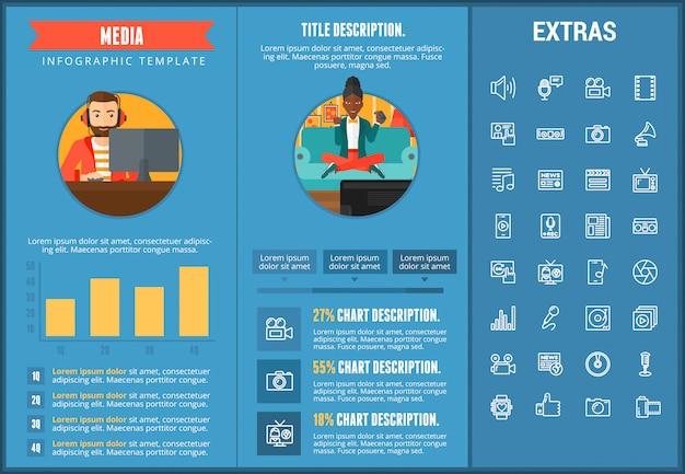 メディアインフォグラフィックテンプレート、要素およびアイコン