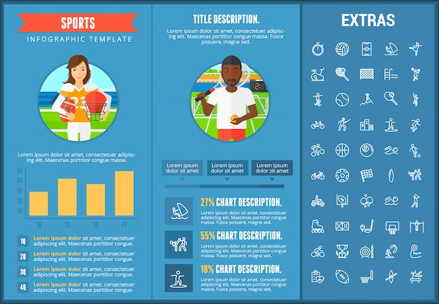 スポーツインフォグラフィックテンプレート、要素およびアイコン